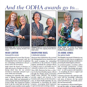Jo-Anne Jones, left, receives the Elizabeth Craig Award of Distinction from ODHA President Sheniza Blackburn.